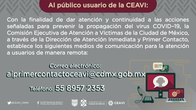 Al público usuario de la CEAVI: