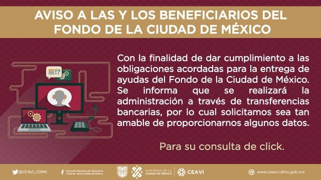 Aviso a las y los beneficiarios del Fondo de la Ciudad de México